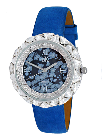 AUSTRIAN CRYSTAL ACCENT,  GENUINE LEATHER BAND- BLUE SUEDE, AK9710-LBK/BU, RETAIL AT $475.0