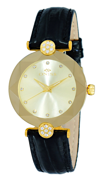 AUSTRIAN CRYSTAL ACCENT, GENUINE LEATHER BAND, FACETED MINERAL CRYSTAL, ONISS ON8776-LGG RETAIL AT $345.00