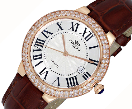 Austrian Crystal accent, Genuine Leather Band, ON3322-LRGSV-BN, RETAL AT (MSRP: $495.00)