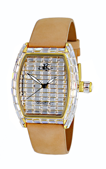 AUSTRIAN CRYSTAL ACCENT, GOLD TONE, GENUINE LEATHER BAND, BLACK SUEDE, AK9708-LG