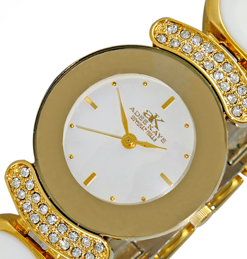 AUSTRIAN CRYSTAL ACCENT, GOLD TONE w/ WHITE ENAMEL ON THE BAND, AK8401-LG/WT
