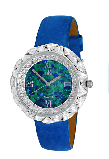 AUSTRIAN CRYSTAL ACCENT, GOLDTONE, GENUINE LEATHER BAND- BLUE SUEDE, AK9710-LBU, RETAIL AT $475.00