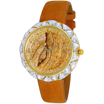 AUSTRIAN CRYSTAL ACCENT, GOLDTONE, GENUINE LEATHER BAND-BROWN SUADE, AK9710-LG/BN, RETAIL AT $475.00