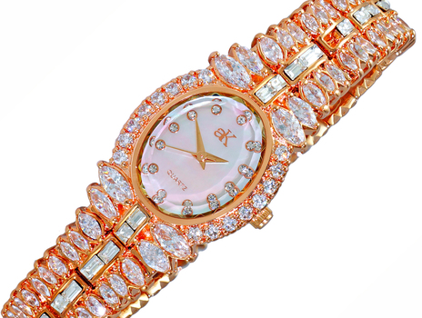 AUSTRIAN CRYSTAL ACCENT, MOTHER OF PEARL DIAL, ROSE TONE, AK9123-LRG, RETAIL AT $495.00