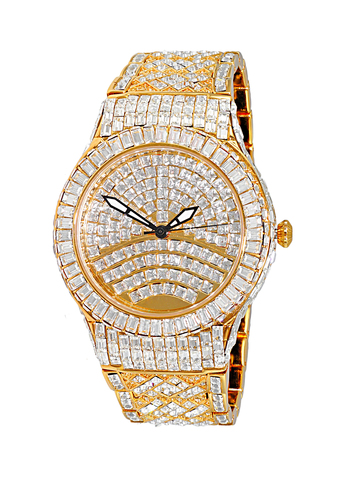 Austrian Crystal Accent on the case and band and dial, Gold tone- Rhodium Plated , AK5154-MG - Retail at $595.00