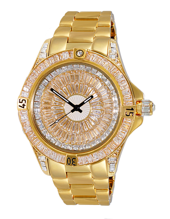 Austrian Crystal Accent on the case and band and dial, Gold tone- Rhodium Plated , AK7185-MG - Retail at $495.00