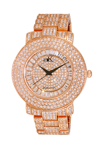Austrian Crystal Accent on the case and band and dial, Rose tone , AK9-27MRG/CR - Retail at $500.00