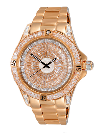Austrian Crystal Accent on the case and band and dial, Rose tone- Rhodium Plated , AK7185-MRG - Retail at $495.00