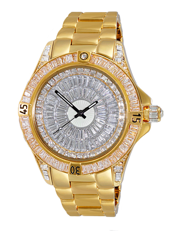 Austrian Crystal Accent on the case and band and dial, Rose tone- Rhodium Plated , AK7185-MRGSV - Retail at $495.00