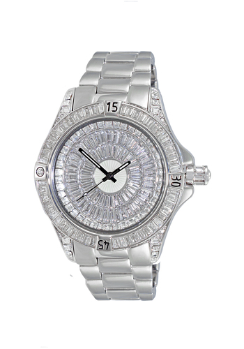 Austrian Crystal Accent on the case and band and dial, Silvertone- Rhodium Plated , AK7185-M - Retail at $495.00