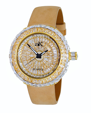 Austrian Crystal Accent on the case and dial, Gold tone , AK9707-LG - Retail at $355.00