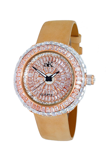 Austrian Crystal Accent on the case and dial, Gold tone , AK9707-LRG - Retail at $355.00