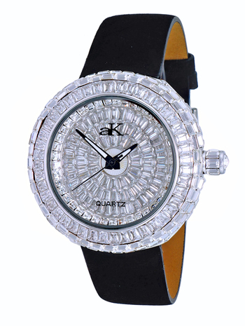 Austrian Crystal Accent on the case and dial, Silver tone , AK9707-L - Retail at $355.00