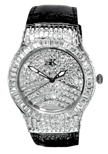 Austrian Crystal Accent on the case and Dial, Silver tone, Genuine Leather Band , AK9256-M - Retail at $595.00