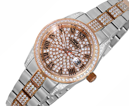 Austrian Crystal Accent on the case, band and dial, Date -dial Rose tone , ON2880-LTTRG,  Retail at $530.00