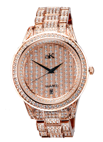 Austrian Crystal Accent on the case, band and dial, Rose tone , AK AK9-12/45MRG - Retail at $495.00