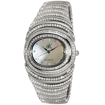 Austrian Crystal Accent on the case, band and dial, Silver tone , AK21-L - Retail at $395.00