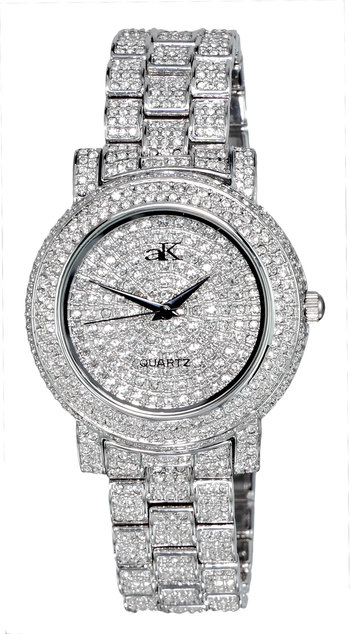 Austrian Crystal Accent on the case, band and dial, Silver tone , AK9263-L - Retail at $445.00