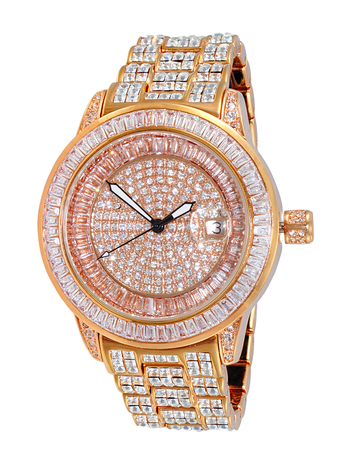 AUSTRIAN CRYSTAL ACCENT, PAVE  DIAL, ROSE TONE, AK3132-MRG RETAIL AT $495.00