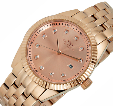 AUSTRIAN CRYSTAL ACCENT,  ROSE TONE CASE AND BAND, ONISS ON6669-LRG , RETAIL AT $475.00