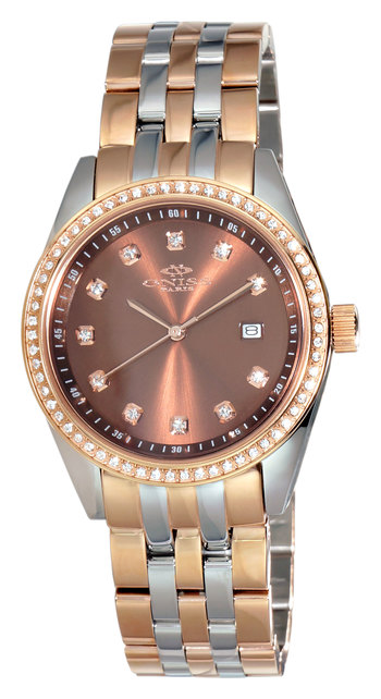 AUSTRIAN CRYSTAL ACCENT,  ROSETONE CASE AND BAND, ONISS ON6668-L2T , RETAIL AT $475.00