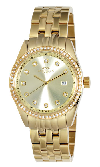 AUSTRIAN CRYSTAL ACCENT,  ROSETONE CASE AND BAND, ONISS ON6668-LGG , RETAIL AT $475.00