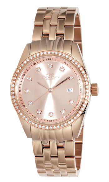 AUSTRIAN CRYSTAL ACCENT,  ROSETONE CASE AND BAND, ONISS ON6668-LRG , RETAIL AT $475.00