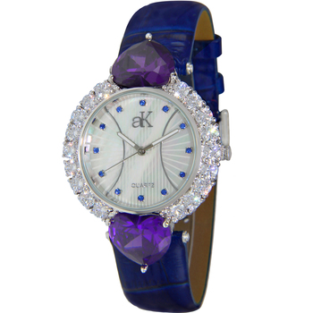 AUSTRIAN CRYSTAL ACCENT, SILVER TONE w/ HEART CUT ACCENT ON THE BEZEL, GENUINE LETAHER BAND, AK2424-BU