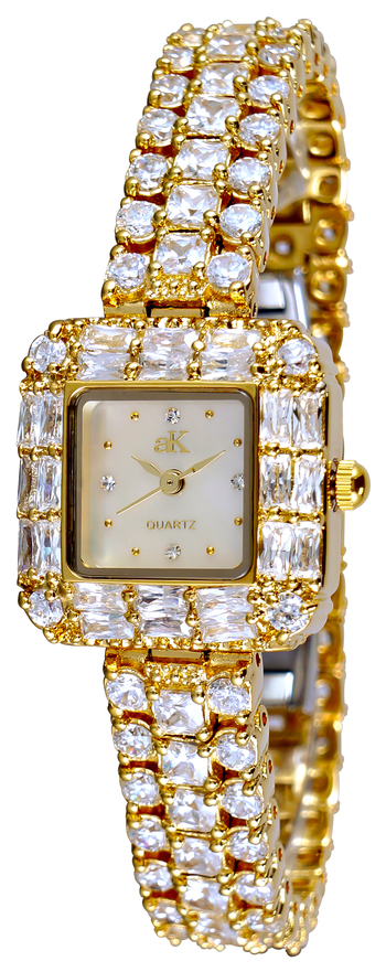 AUSTRIAN CRYSTAL, MOTHER OR PEARL DIAL, GOLD TONE, AK9-71LG