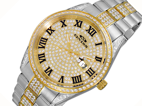 AUSTRIAN CRYSTAL, PAVE DIAL, JAPAN QUARTZ MOV'T. , ON3880-M , RETAIL AT (MSRP: $570.00)
