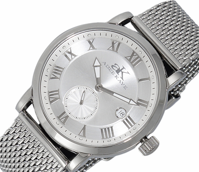 AUTOMATIC 18 JEWEL TY2705 - MOVEMENT, MINERAL CRYSTAL, STAINLESS STEEL MESH BANS BAND, AK9060-MSV-MESH , RETAIL AT $600.00