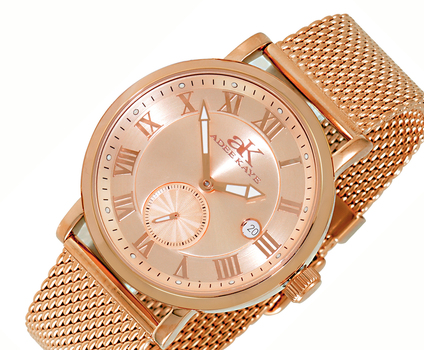 AUTOMATIC 18 JEWEL TY2705 - MOVEMENT, MINERAL CRYSTAL, STAINLESS STEEL MESH BANS BAND, AK9060-RGRG-MESH , RETAIL AT $600.00
