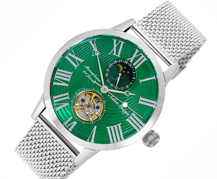 Automatic 20 Jewels  Movement with Moon Phase Complication, AK2269-MGN-MESH -  RETAIL AT $645.00