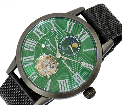 Automatic 20 Jewels  Movement with Moon Phase Complication, AK2269-MIPGN-MESH -  RETAIL AT $645.00