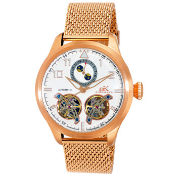 Automatic - 45 Jewels JHLS515 double barrel,Moon Phase , AK5663-MRG/SV-MESH , RETAIL AT $800.00