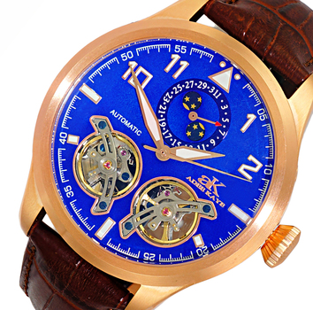 Automatic - 45 Jewels  JHLS515 double barrel,Moon Phase and Calendar Counter ,  AK5663-MrGBU , RETAIL AT $800.00