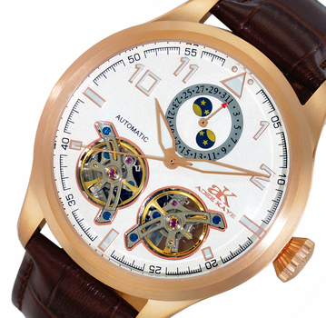 Automatic - 45 Jewels JHLS515 double barrel,Moon Phase and Calendar Counter , AK5663-MRG/SV , RETAIL AT $800.00