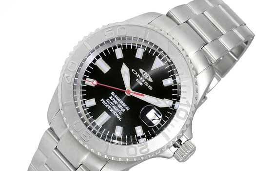 ONISS - AUTOMATIC MOVEMENT - 21 JEWELS, BLACK SUN RAY - DATE, ON5515-11-BK - RETAIL AT (MSRP: $695.00)