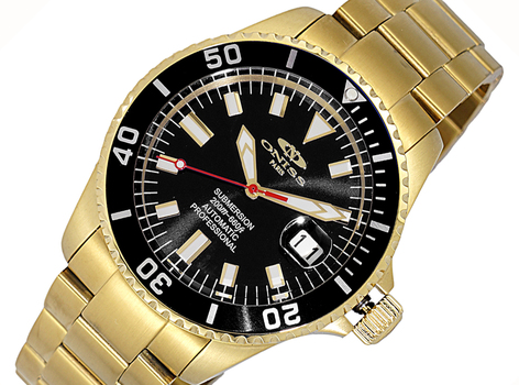 AUTOMATIC MOVEMENT - 24 JEWELS, SUN RAY - DATE BLACK -GOLD TONE DIAL AND  BEZEL, ON5588-44GBKBK - RETAIL AT (MSRP: $695.00)