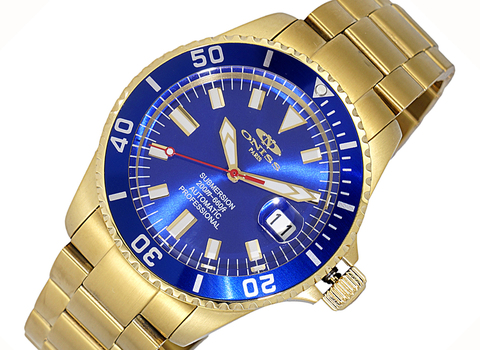 AUTOMATIC MOVEMENT - 24 JEWELS, SUN RAY - DATE BLUE-GOLD TONE DIAL AND   BEZEL, ON5588-55(GOBU) - RETAIL AT (MSRP: $695.00)