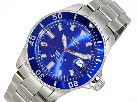 AUTOMATIC MOVEMENT - 24 JEWELS, SUN RAY - DATE BLUE-SILVER TONE DIAL AND   BEZEL, ON5588-22(BUBU) - RETAIL AT (MSRP: $695.00)