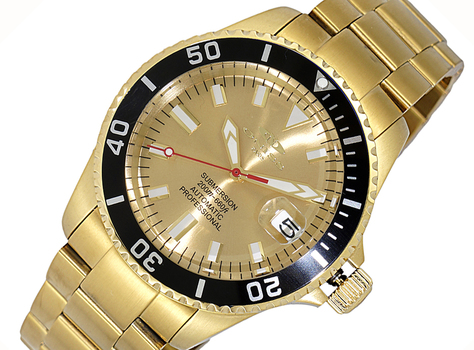 AUTOMATIC MOVEMENT - 24 JEWELS, SUN RAY - DATE - GOLD TONE DIAL AND  BLACK BEZEL, ON5588-66-GG_BK - RETAIL AT (MSRP: $695.00)