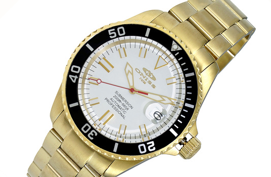 AUTOMATIC MOVEMENT - 24 JEWELS, WHITE DATE DIAL- GOLD TONE DIAL AND  BLACK BEZEL, ON5588-88-GWTBK - RETAIL AT (MSRP: $695.00)