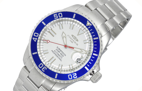 AUTOMATIC MOVEMENT - 24 JEWELS, WHITE DATE DIAL-SILVER TONE DIAL AND  BLUE BEZEL, ON5588-77-WTBU - RETAIL AT (MSRP: $695.00)