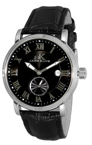 AUTOMATIC MOVEMENT, MENIRAL CRYSTAL, GENUINE LEATHER BAND, AK9060-MBK , RETAIL AT $600.00