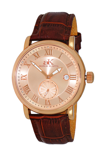 AUTOMATIC MOVEMENT, MENIRAL CRYSTAL, GENUINE LEATHER BAND, AK9060-MRG/RG_BN , RETAIL AT $600.00