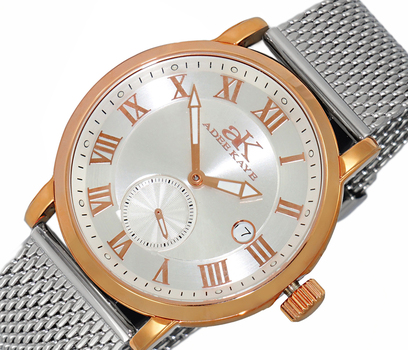 AUTOMATIC MOVEMENT, MENIRAL CRYSTAL, STAINLESS STEEL MESH- BAND, AK9060-MRGSV-MESH , RETAIL AT (MSRP: $600.00)