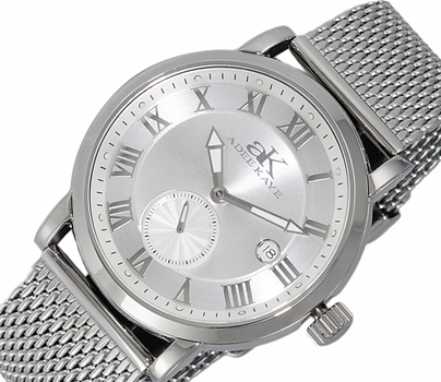 AUTOMATIC MOVEMENT, MENIRAL CRYSTAL, STAINLESS STEEL MESH- BAND, AK9060-MSV-MESH , RETAIL AT (MSRP: $600.00)
