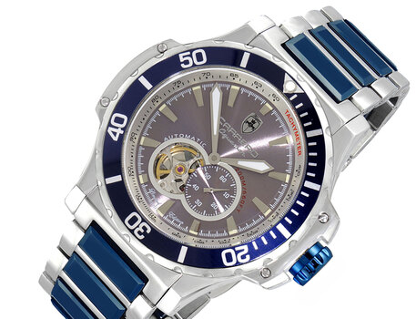 Automatic Movement , Skeleton Sunray Dial, High Tech ceramic and Stainless Steel,  LC2SBU666GSV, Retail at (MSRP: $2,304.00)