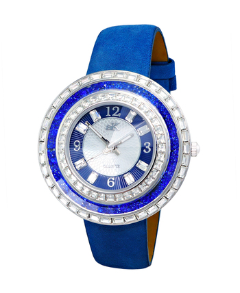 Blue Austrian Stone, MOP Dial, Faceted Crystal. AK9707-LBU - RETAIL AT $355.00